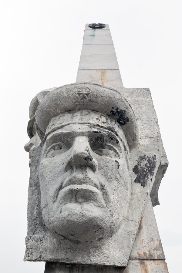 Fragment av Stela, monument av Kamchatka Gräns-vakter härlighet på den Petropavlovsk Kamchatsky staden royaltyfri bild
