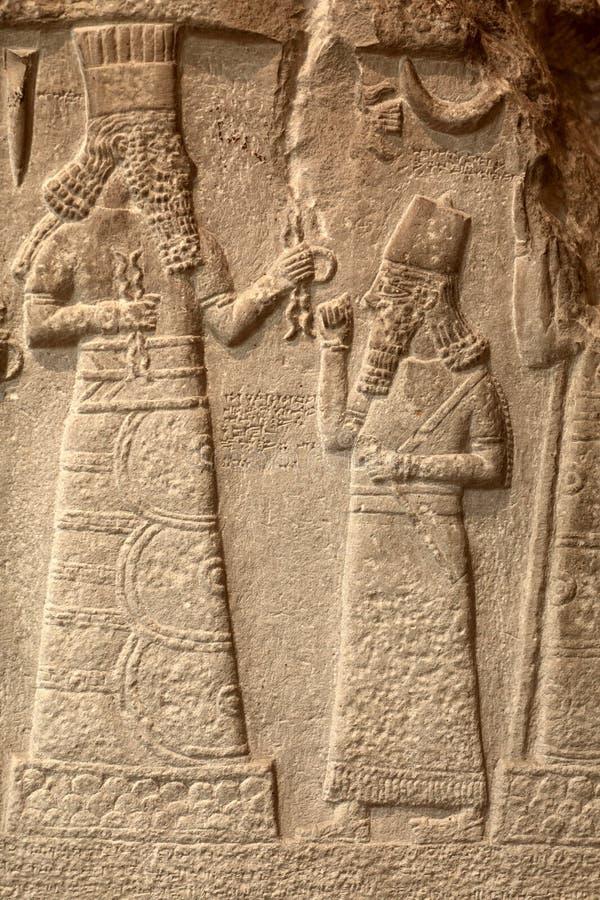 Fragment babylonian Kalkstein Trauer- Stele stockbild