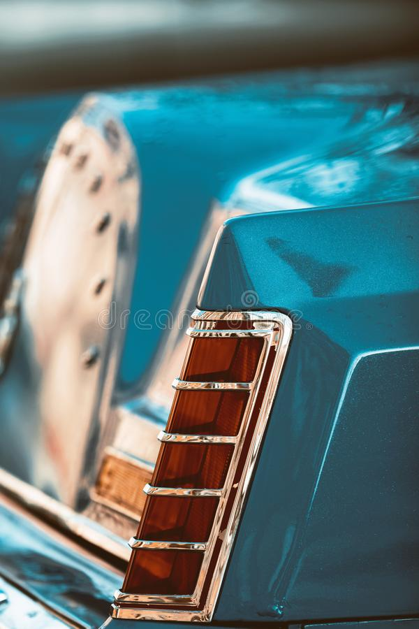 Fragment of the backlight of a vintage luxury car stock photo