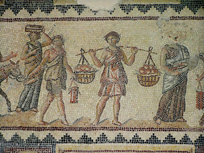 Fragment of a beautiful antique mosaic floor. Archaeological Park Zippori, Israel. A fragment of a beautiful antique mosaic on the floor in a rich Roman villa stock photography