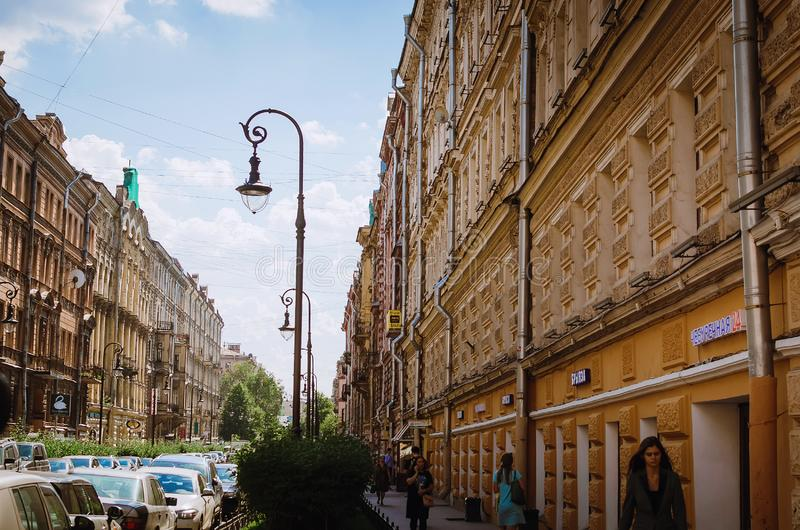 Fragment of a beautiful historic building in St. Petersburg royalty free stock photos
