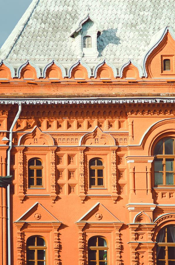 Fragment of a beautiful historical building of the city of Moscow. Vertical photo. stock photos