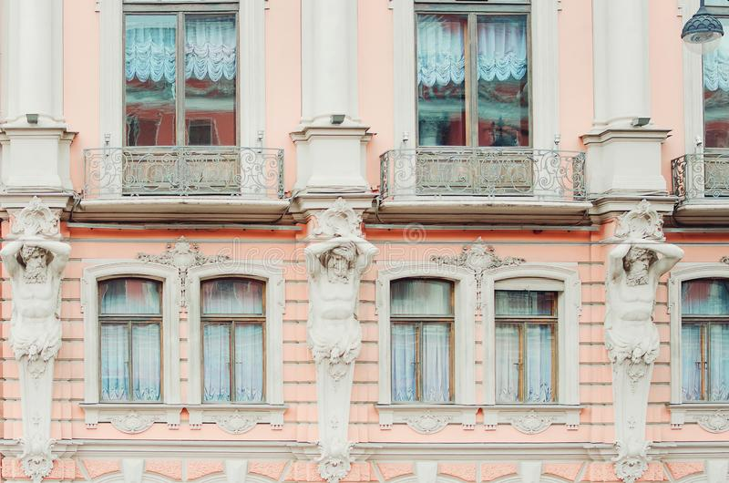 Fragment of a beautiful historical building of the city of St. Petersburg. Close-up. royalty free stock photos
