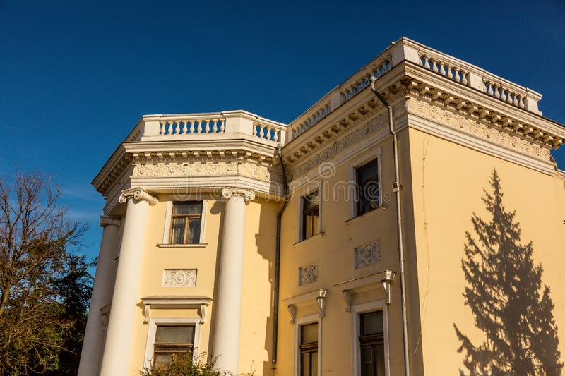 Fragment of beautiful old house in Odessa. Historical house stock illustration