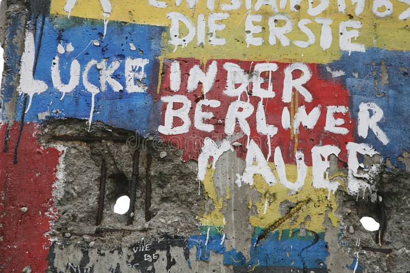 Fragment of the Berlin wall. Graffiti and greetings on one of the remaining sections of the old cold war Berlin wall - Germany royalty free stock photo