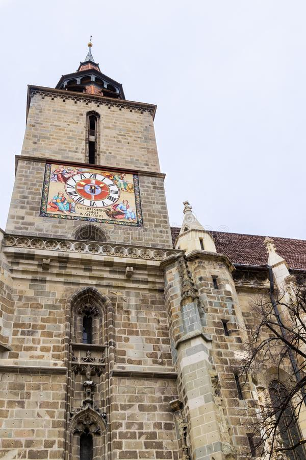 A fragment of the Black Church, built in the Gothic style and named after the dark color left after the fire of the 17th century i. N the Brasov city in Romania royalty free stock images