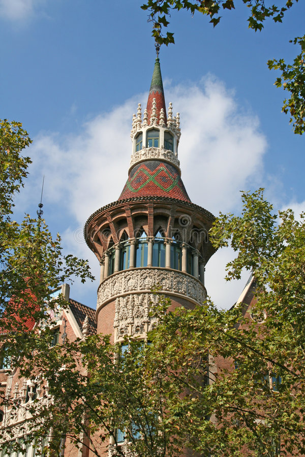 Fragment of casa Terradas in Barcelona stock images
