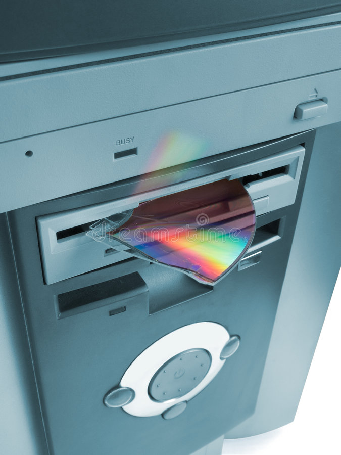 Fragment of cd in floppy drive stock photos