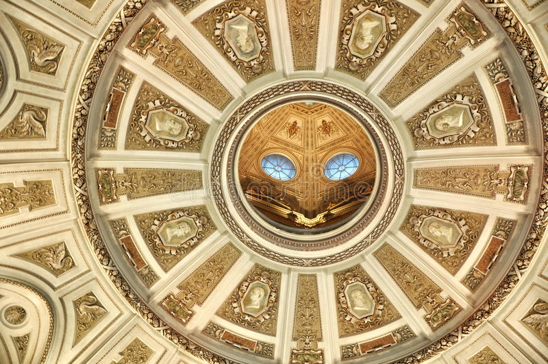 Fragment of ceiling of the Natural History Museum Vienna. stock photography
