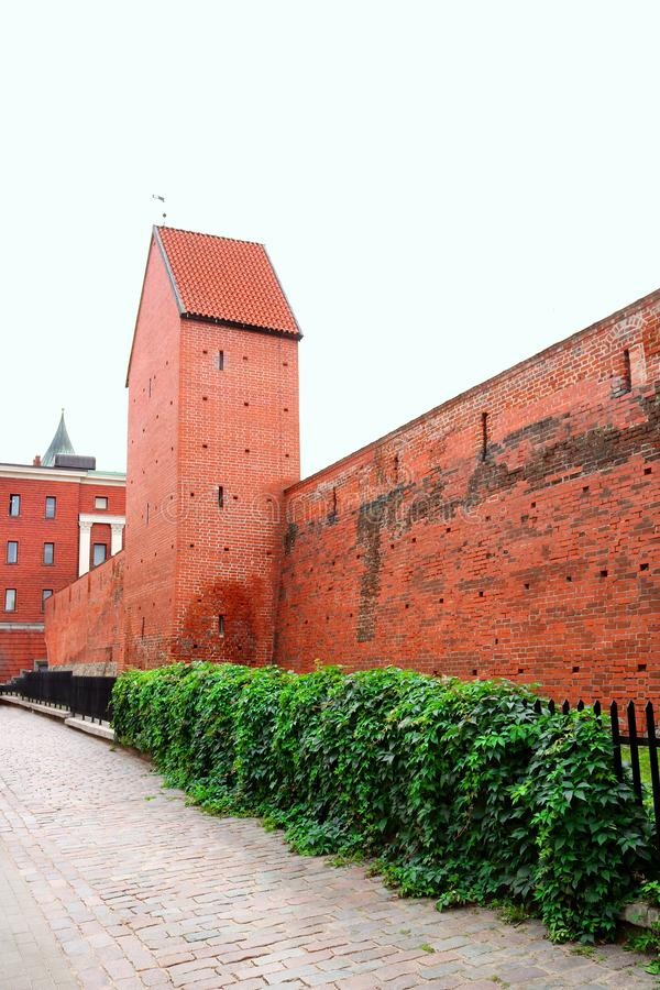 Fragment of the city wall and Ramera Tower on Torna Street. Riga. Latvia stock photos