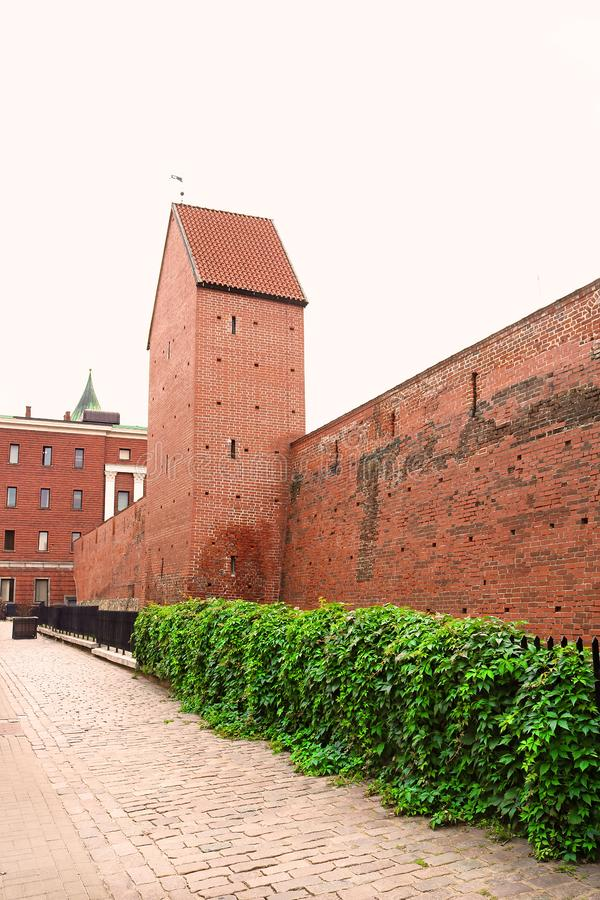 Fragment of the city wall and Ramera Tower on Torna Street. Riga. Latvia royalty free stock image