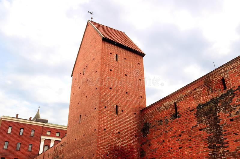 Fragment of the city wall and Ramera Tower on Torna Street. Riga. Latvia royalty free stock photography