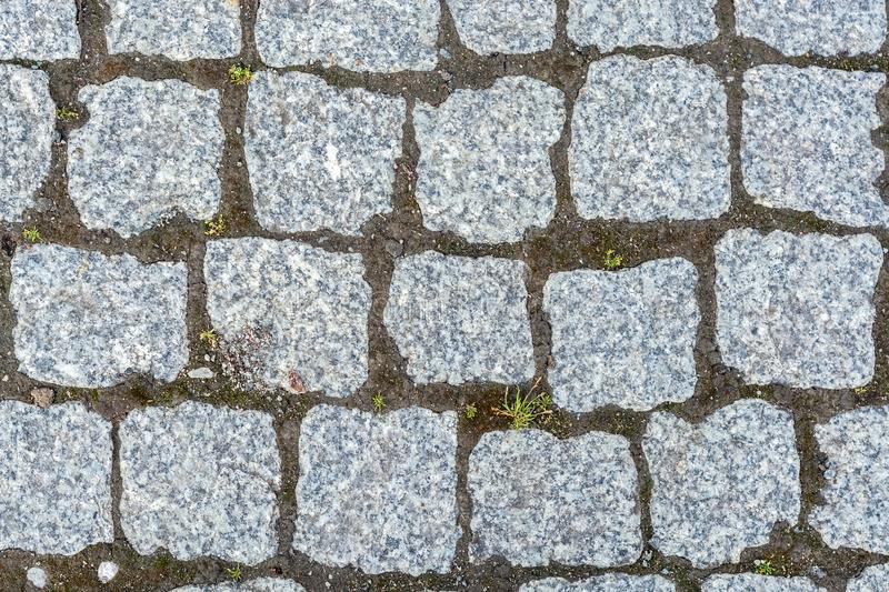 Fragment of cobbled pavement stock photo