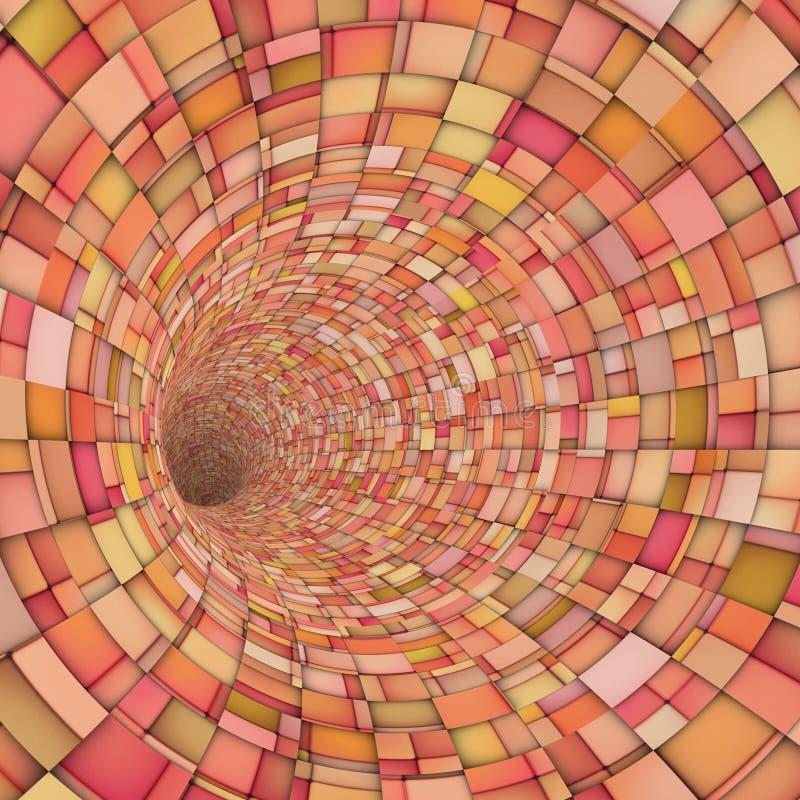 Fragment 3d techno Fliesen-Tunnelrohr in der rosa Orange lizenzfreie abbildung