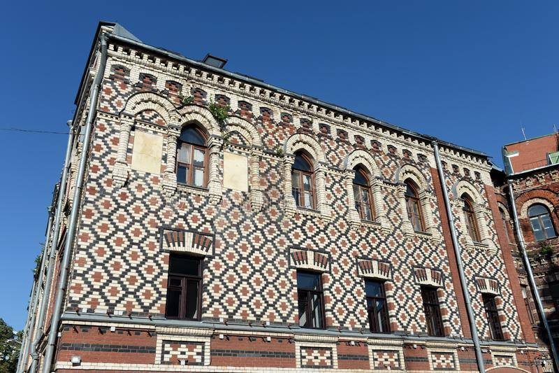 Fragment d'un bâtiment de l'ensemble de maisons résidentielles de l'estuaire patriarcal de patriarcat de Constantinople à Moscou photos stock