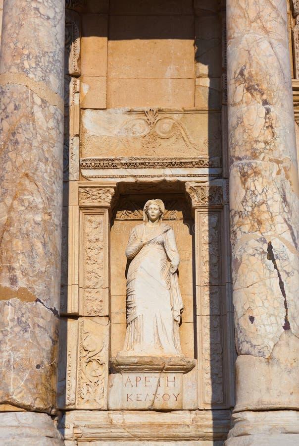 Fragment de bibliothèque Celsius dans Ephesus Turquie photographie stock