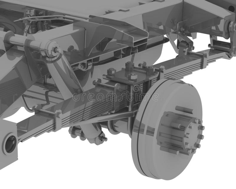 Fragment de la suspension arrière de la voiture illustration libre de droits