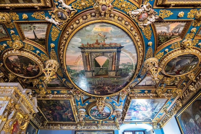 Fragment de peindre le plafond du grand hall du Conseil Danzig, Pologne photo libre de droits