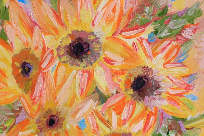 Fragment de peinture à l'huile de fleurs photographie stock