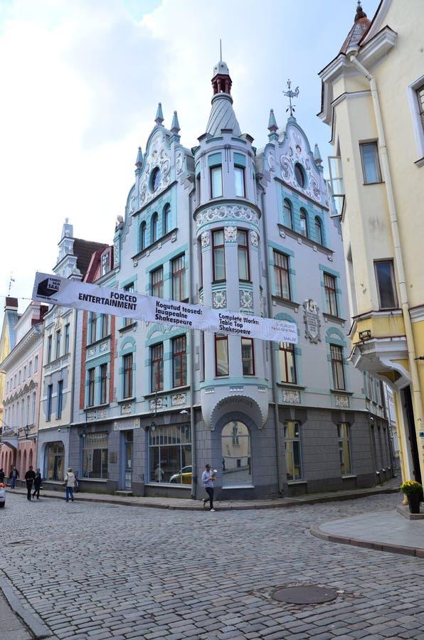 Fragment de rue de Pikk dans la vieille ville - la partie antique de Tallinn image libre de droits
