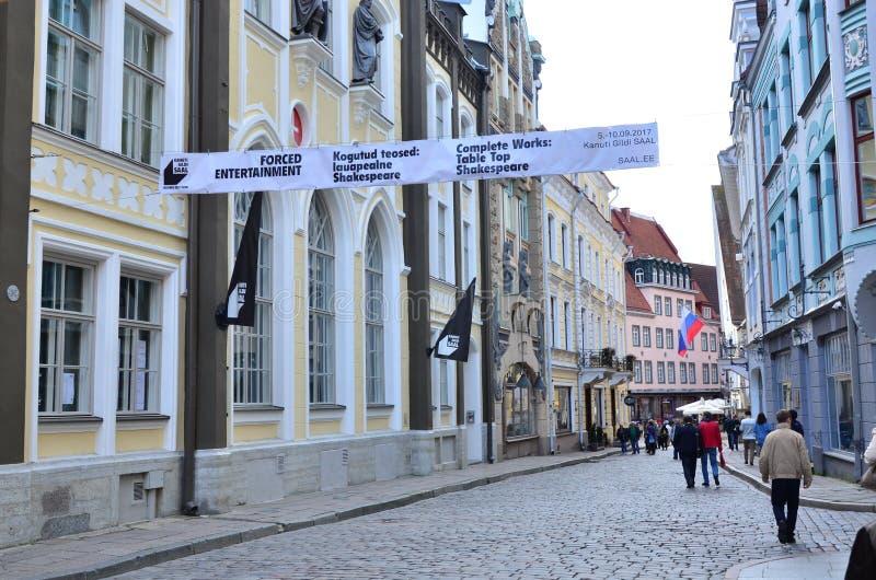 Fragment de rue de Pikk dans la vieille ville - la partie antique de Tallinn image stock