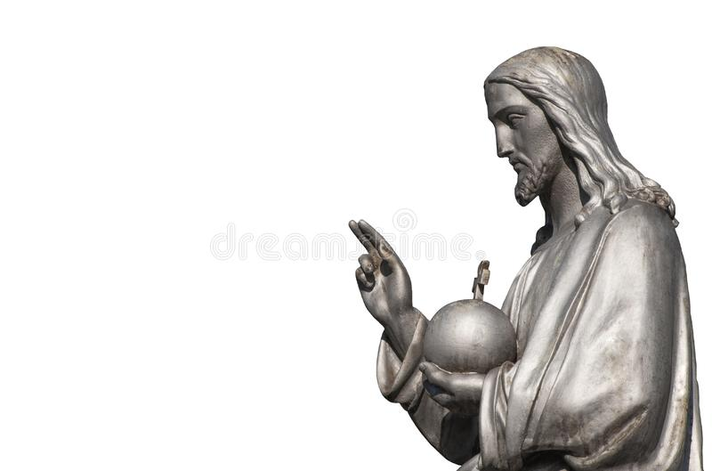 Fragment de statue antique de Jesus Christ Isolated sur le fond blanc photos stock