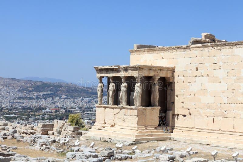 Fragment de temple du grec ancien d'Erechtheum images stock