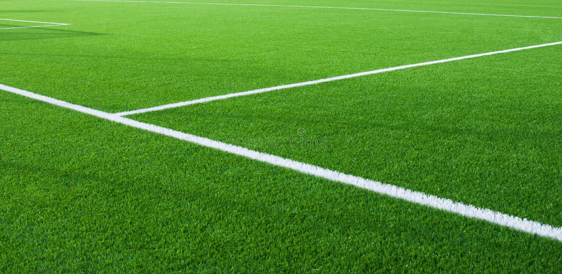 Fragment de terrain de football avec les lignes blanches photographie stock