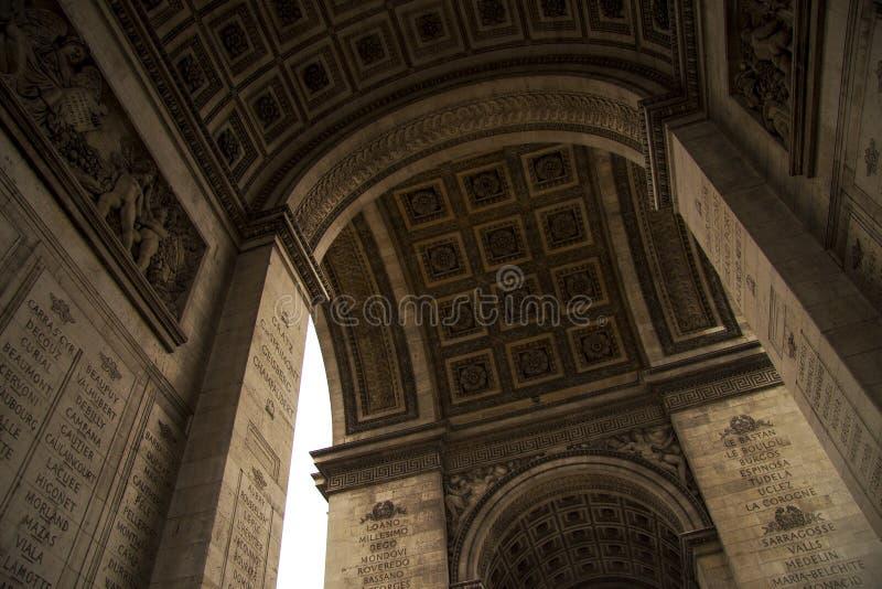 Fragment de voûte triomphale de Paris de Frances images stock