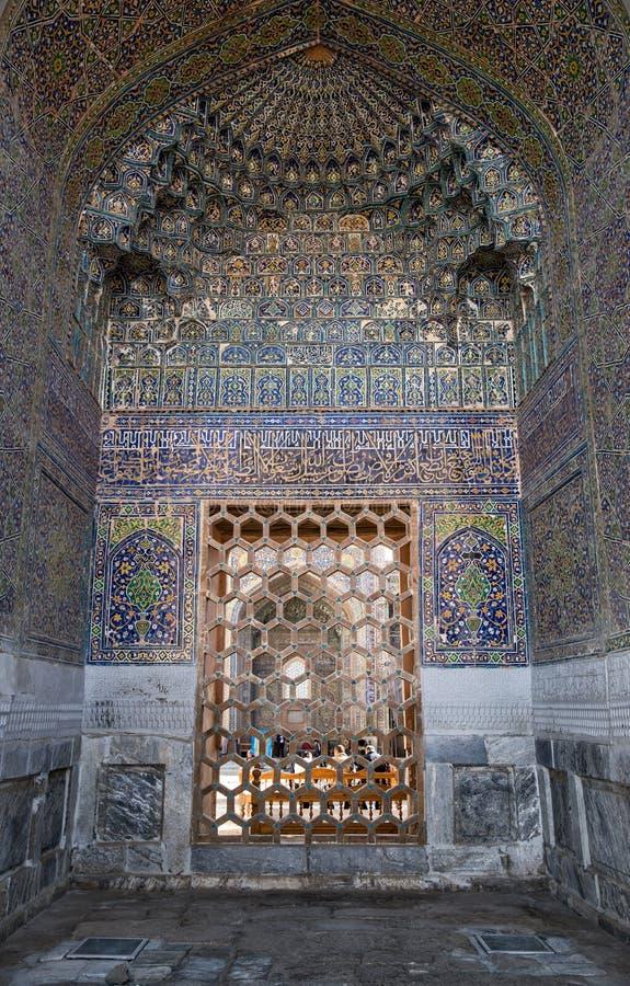 Fragment der Fassade Madrasah Sher-Dor stockfoto