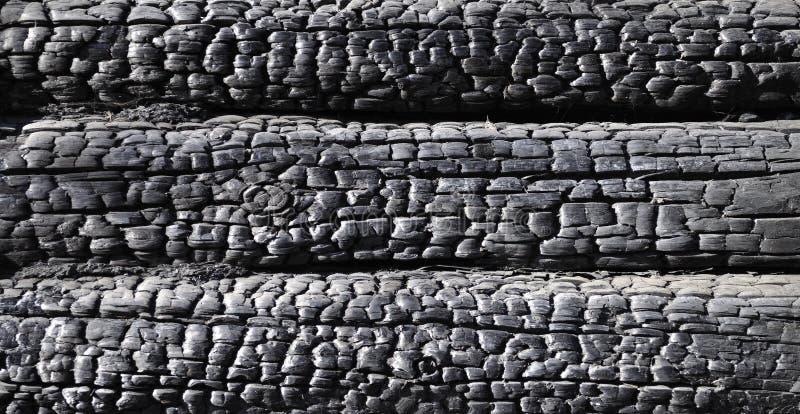 Fragment der gebrannten Protokollwand stockfoto
