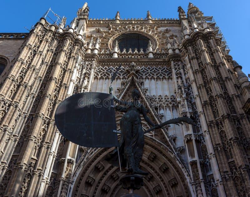 Fragment der Kathedrale in Sevilla, Andalusien, stockbild