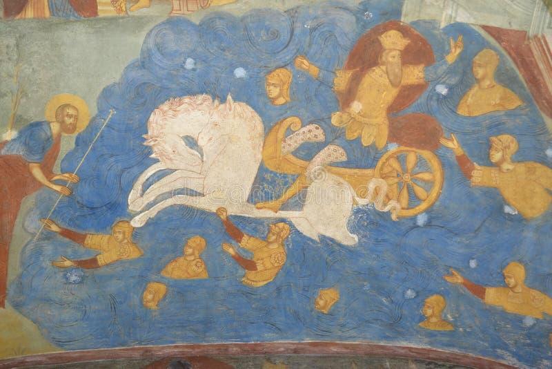 Fragment der Malerei im Tempel der Enthauptung von Johannes der Täufer in der Stadt von Yaroslavl, Russland lizenzfreie stockbilder