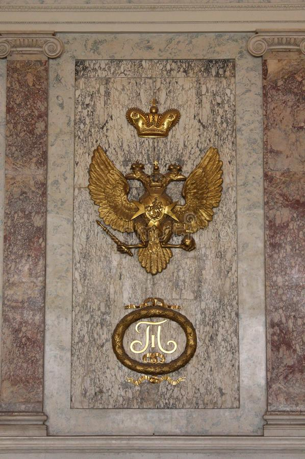 Fragment des Innenraums am Haupttreppenhaus Mikhailovsky Schloss St Petersburg stockbilder