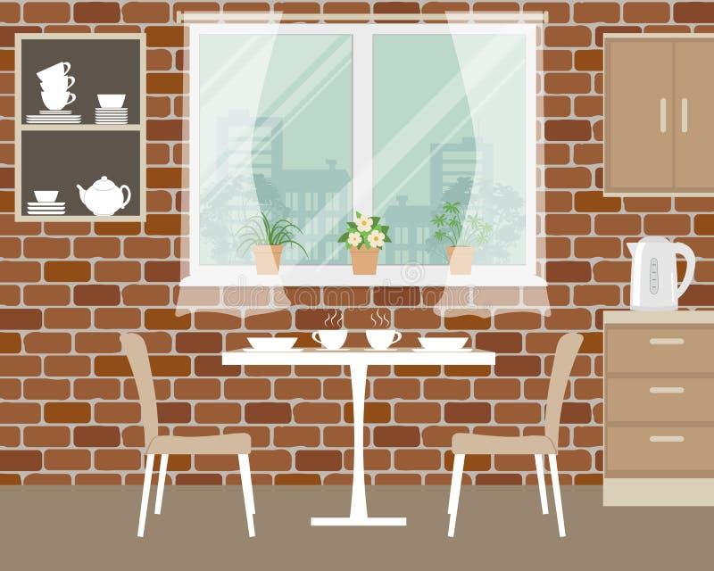Fragment des Kücheninnenraums auf einem Backsteinmauerhintergrund vektor abbildung