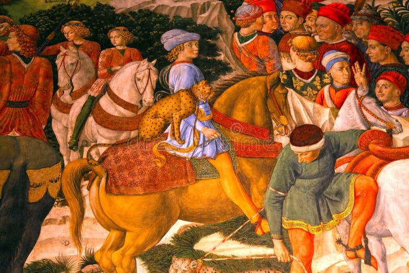 Fragment des mittelalterlichen Freskos in Palazzo Medici Riccardi, Florenz lizenzfreie stockfotografie