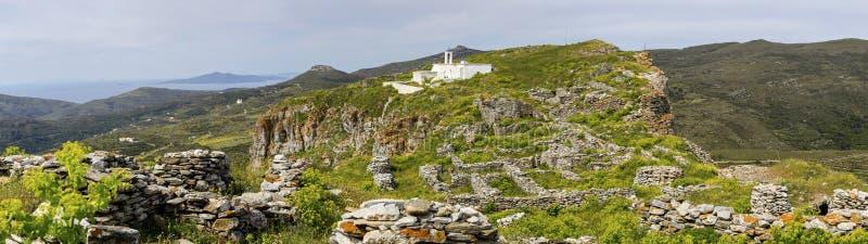 Fragment des Schlosses von Faneromeni auf Andros Griechenland, die Kykladen stockfotos