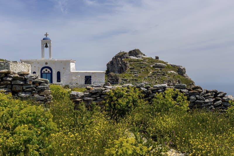 Fragment des Schlosses von Faneromeni auf Andros Griechenland, die Kykladen stockfoto