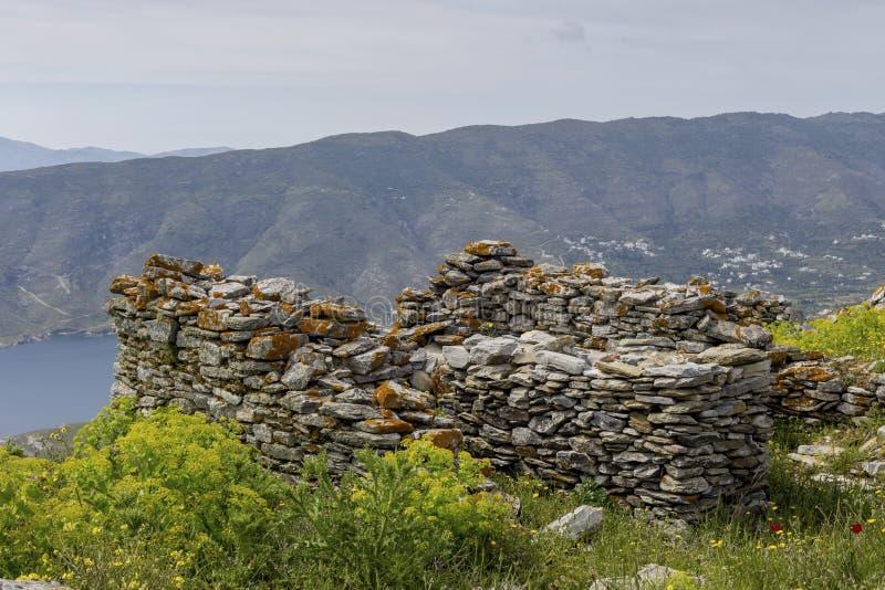 Fragment des Schlosses von Faneromeni auf Andros Griechenland, die Kykladen stockbild