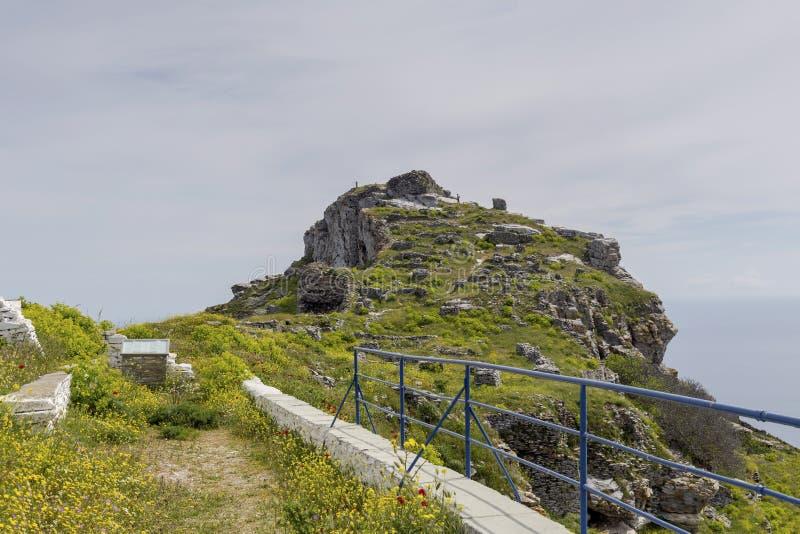Fragment des Schlosses von Faneromeni auf Andros Griechenland, die Kykladen lizenzfreie stockfotos
