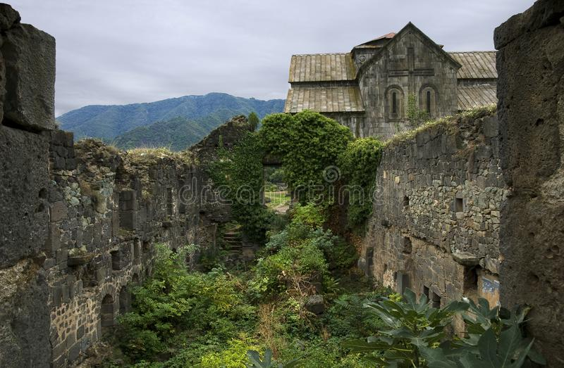 Fragment of destroyed buildings in Akhtala monastery complex. Armenia stock photo