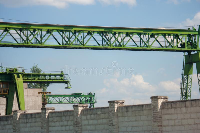 Fragment, details of a gantry green crane close-up. royalty free stock photos