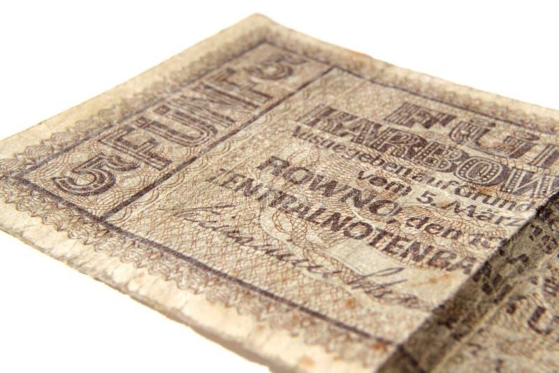 Fragment du billet de banque cinq roubles photo stock