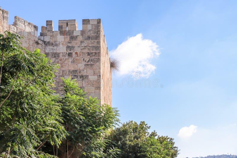 Fragment du mur de forteresse près de Dung Gate dans la vieille ville de Jérusalem, Israël photographie stock libre de droits