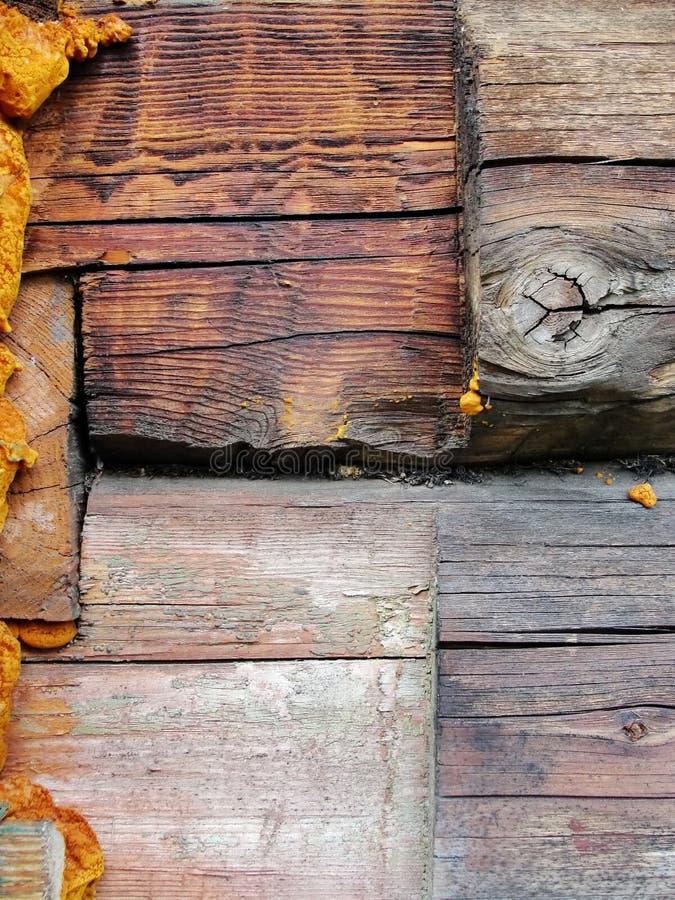 Fragment du vieux mur de la maison du bois de construction image libre de droits