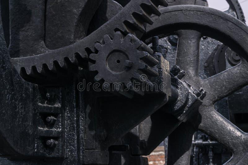 Fragment eines enormen Dampfäramechanismus stockbilder