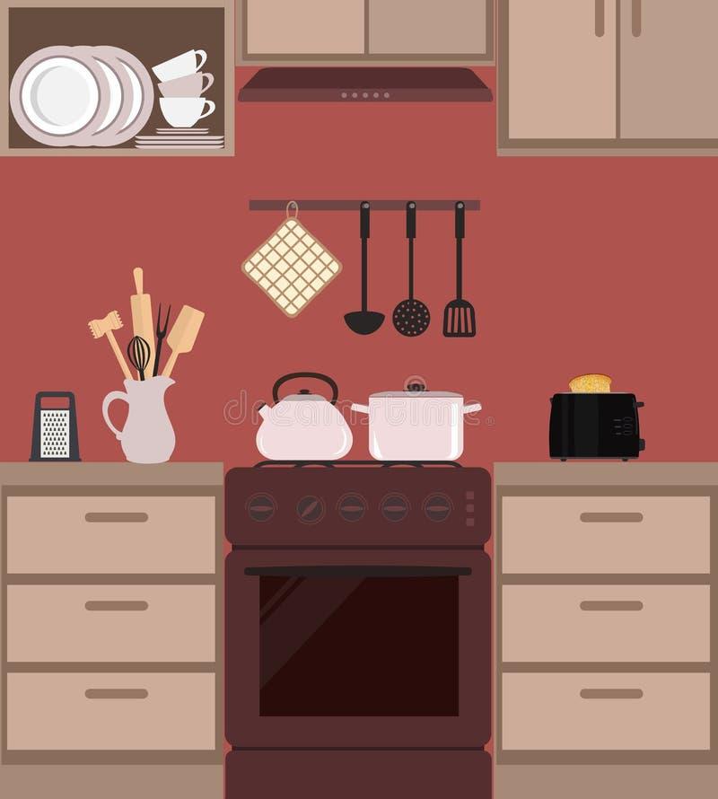 Fragment eines Kücheninnenraums in der braunen Farbe stock abbildung