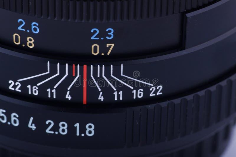 Fragment eines SLR Objektivs stockfotografie