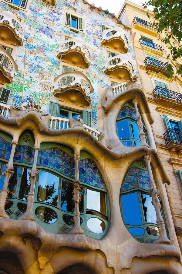 Fragment of Facade of Casa Batllo building in Barcelona stock photography