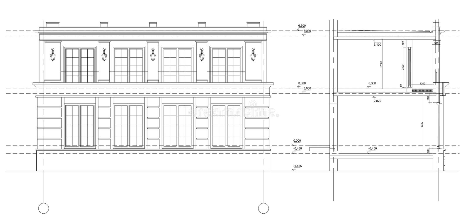 Fragment of a facade of the classical city building. Vector isolated.Fragment of a facade of the classical city building. The architectural drawing of a facade royalty free illustration